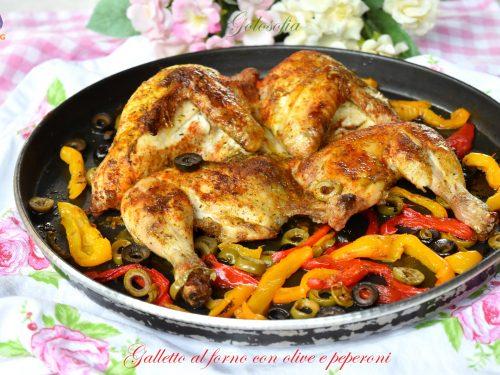 Galletto al forno con olive e peperoni, cottura al Crisp senza grassi