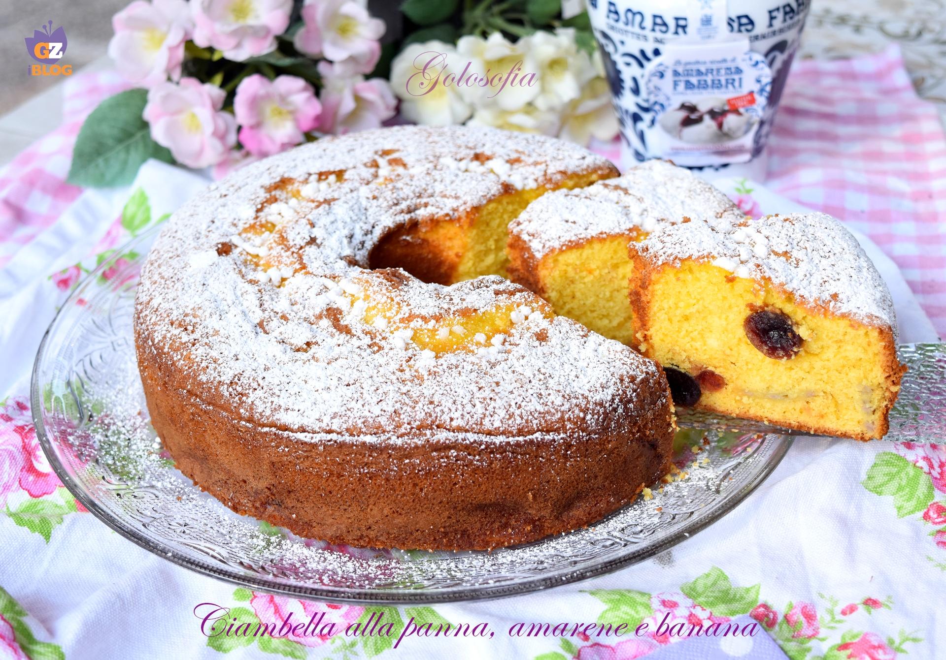 Ciambella alla panna, amarene e banana-ricetta dolci-golosofia