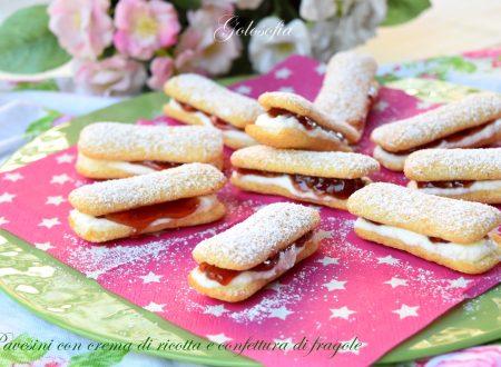 Pavesini con crema di ricotta e confettura di fragole, freschi e buonissimi!