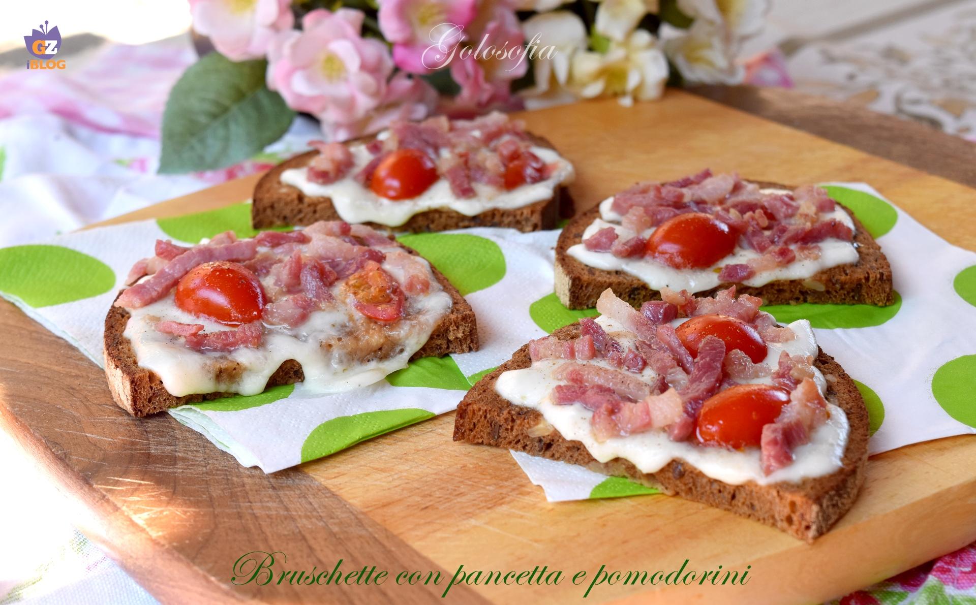 Bruschette con pancetta e pomodorini-ricetta antipasti-golosofia