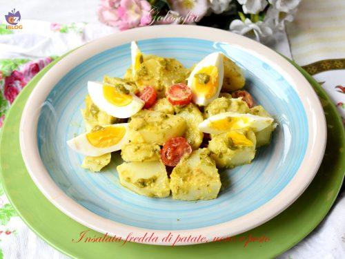 Insalata fredda di patate, uovo e pesto, buonissima e cremosa!