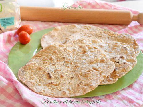 Piadina di farro integrale, ricetta leggera senza lievito