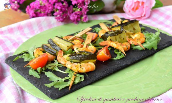 Spiedini di gamberi e zucchine al forno, gustosi e leggeri