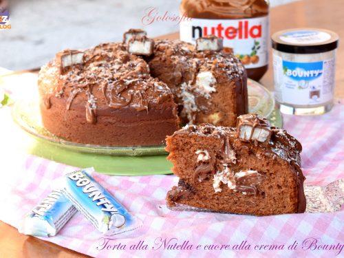 Torta alla Nutella e cuore alla crema Bounty, soffice e golosissima!