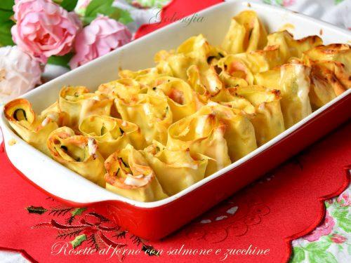Rosette al forno con salmone e zucchine, primo piatto ricco e cremoso!
