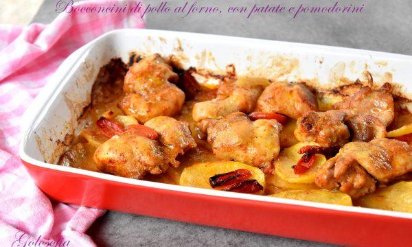 Bocconcini di pollo al forno, con patate e pomodorini, semplici e squisiti