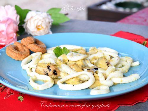 Calamari e carciofini grigliati, ricetta gustosa e veloce in padella
