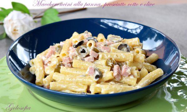Maccheroncini alla panna, prosciutto cotto e olive, buonissimi e rapidi