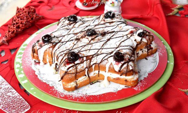 Stella di Natale con crema al latte e amarene, soffice e buonissima!