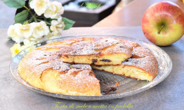 Torta di mele e uvetta in padella, ricetta buonissima e veloce!