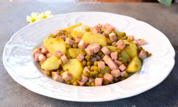 Patate gustose con prosciutto e piselli, ricetta contorno saporito