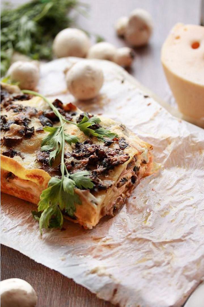 Ricetta Lasagne in bianco con Prosciutto e Funghi Champignon