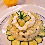 Risotto zucchine,menta e profumo di limone,con burrata pugliese.