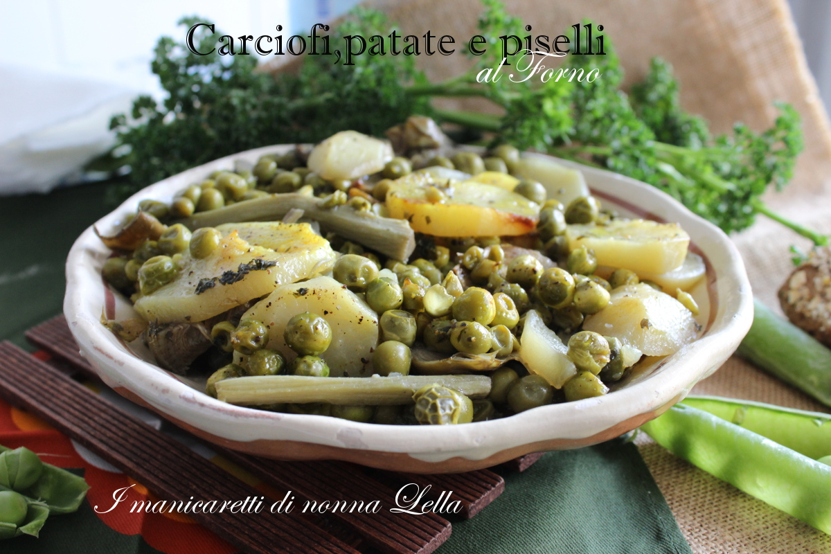 Carciofi, patate e piselli al forno