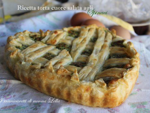 Ricetta torta cuore salata agli spinaci
