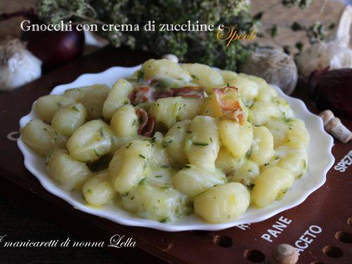 Gnocchi con crema di zucchine e speck