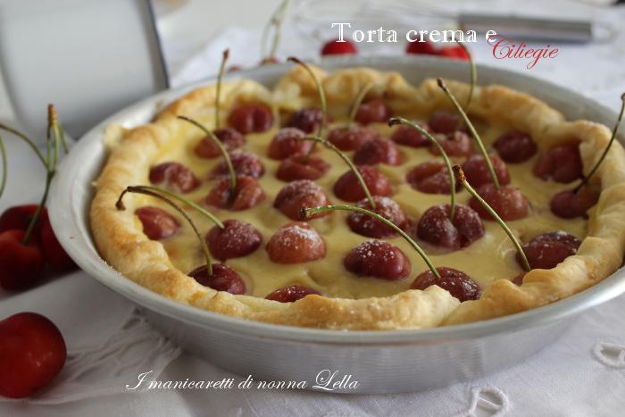 Torta crema e ciliegie