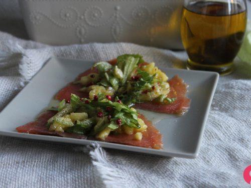 Carpaccio salmone e ananas