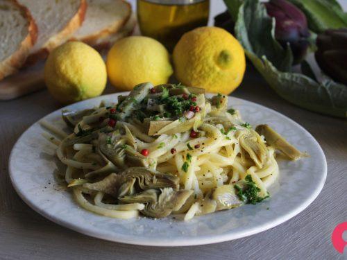 Spaghetti carciofi e crema di limone