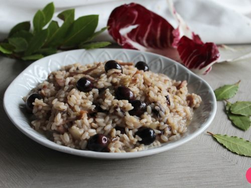 Ricetta risotto radicchio, speck e olive