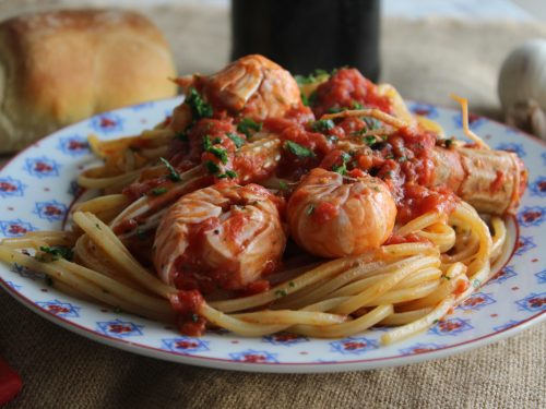 Spaghetti con gli scampi al sugo