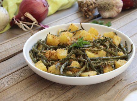 Fagiolini e patate al forno gratinati alla menta