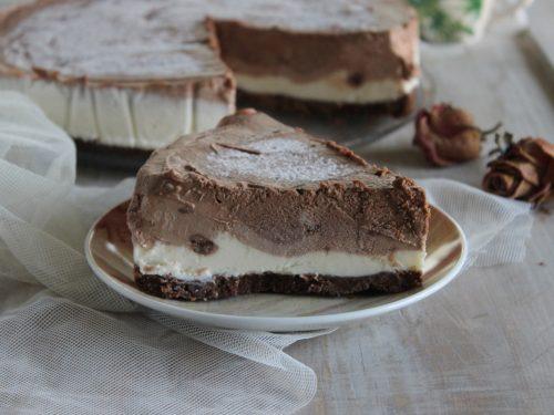 Cheesecake al cioccolato torta fredda al triplo cioccolato