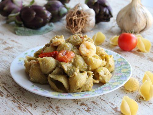 Pasta con crema di carciofi pomodorini e gamberetti ricetta mare monti