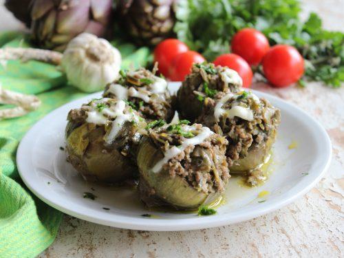 Ricetta carciofi ripieni in padella con carne macinata e mozzarella veloce