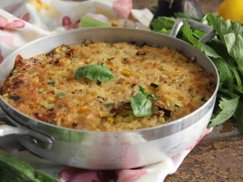 Riso al forno e verdure miste tutto a crudo e latte ricetta light veloce facile
