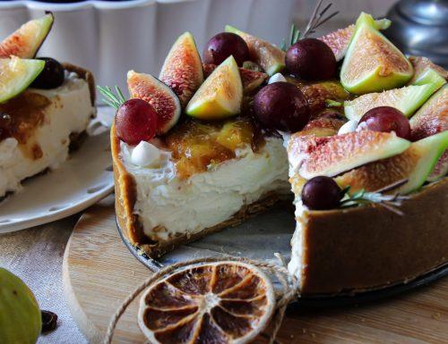 Cheesecake senza cottura con topping ai fichi