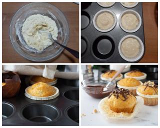 Muffin con banana, cioccolato e mandorle