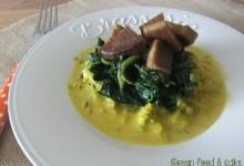 Spinaci e seitan in salsa allo zafferano