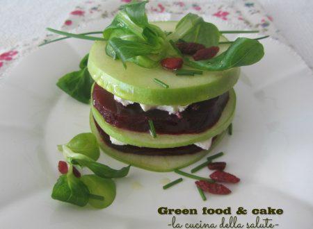 Millefoglie di mela verde, caprino e rape rosse