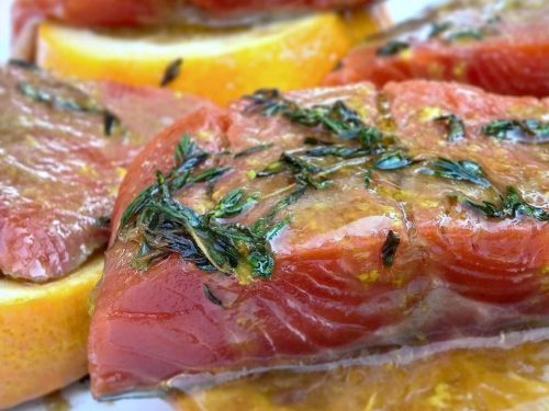 Salmone al Grill cotto su una fetta di agrume, marinato alla Vaniglia.