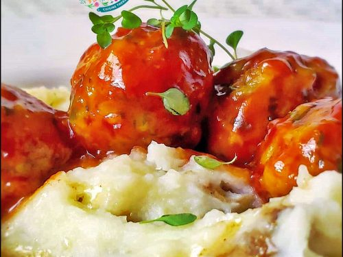 Soft Turkey Meatballs with Ketchup Gastrique glaze