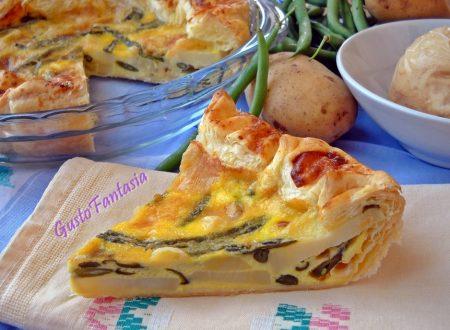 Torta salata patate fagiolini e scamorza