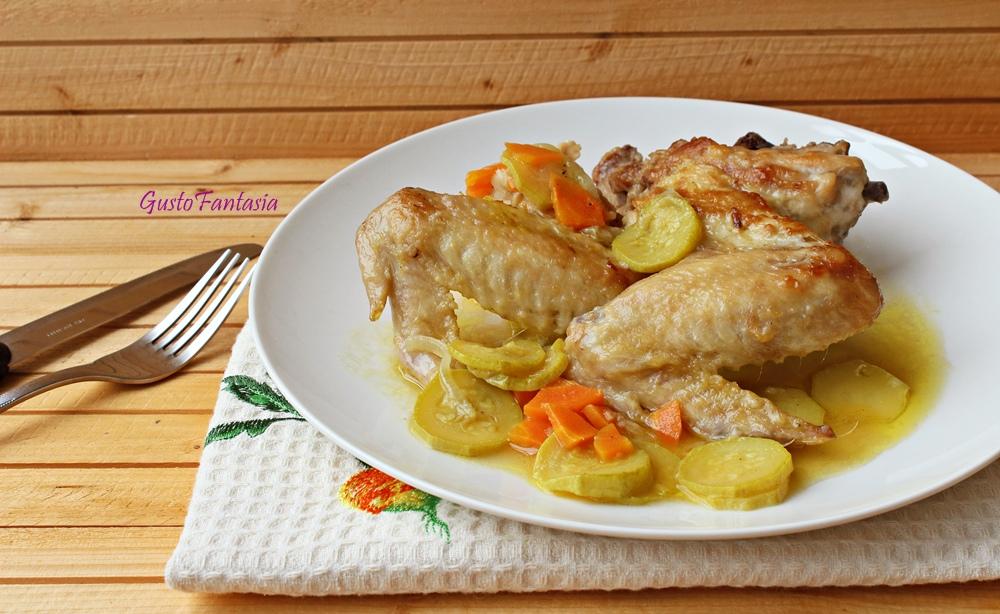Ali di pollo con verdure in padella