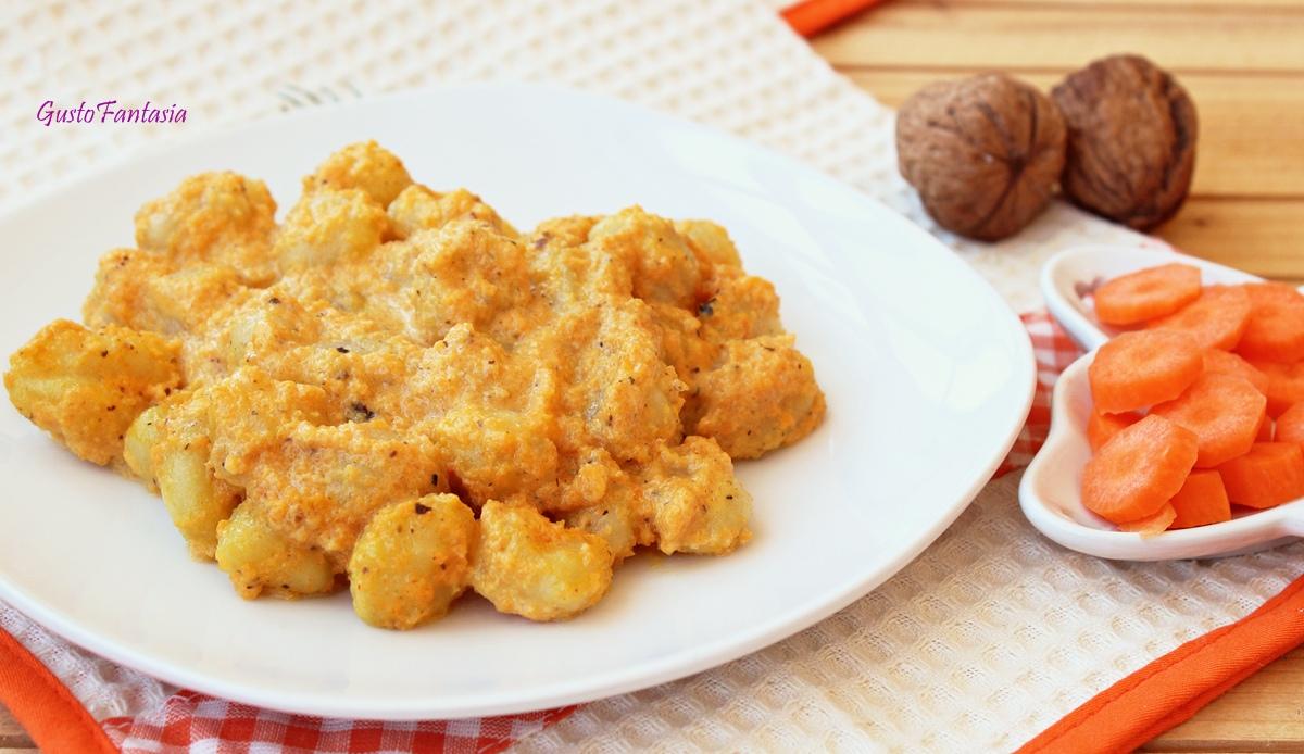 Gnocchi di patate con pesto di carote e noci