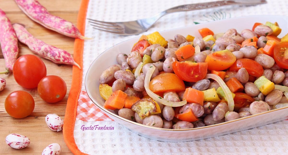Insalata di fagioli borlotti con verdure