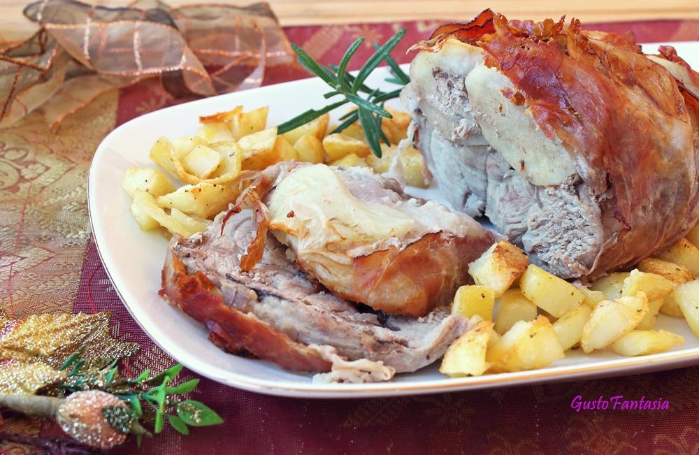 Arrosto di maiale con speck e patate