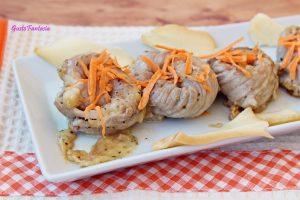 Involtini di lonza con scamorza e carote