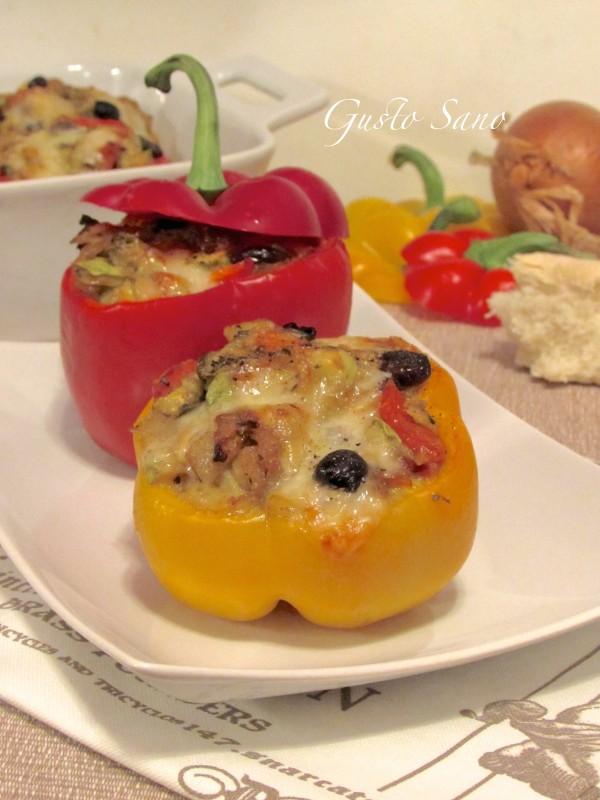 peperoni ripieni di verdura e fontina