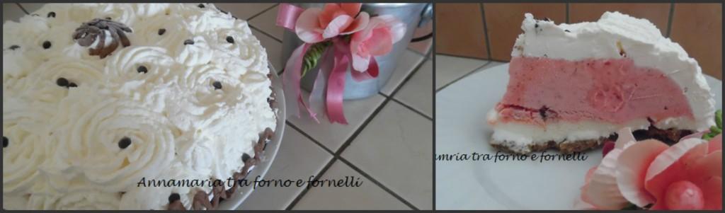 Torta gelato fragola e fior di latte collage