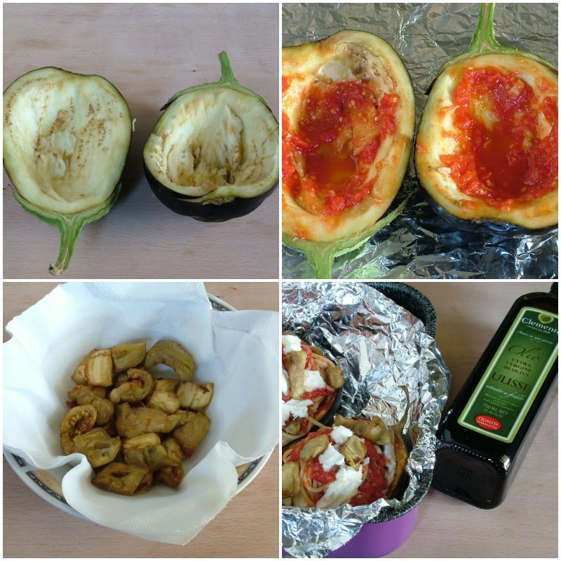 barchette di melanzane con pasta al pomodoro 2