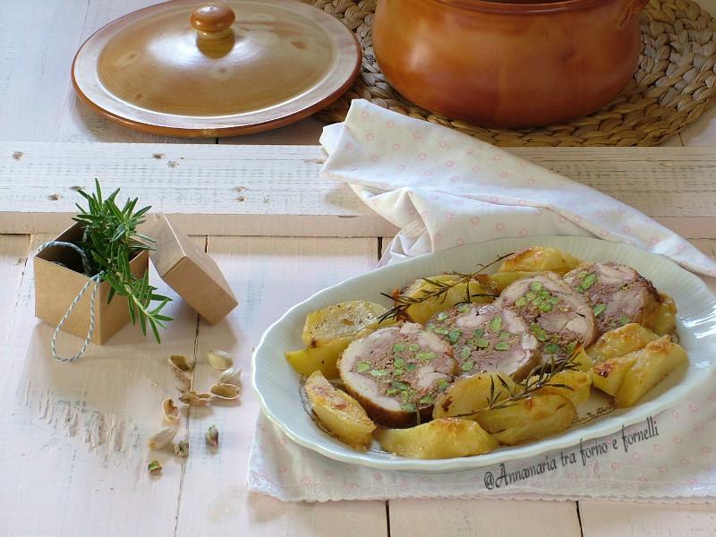 rotolo di pollo con mortadella e pistacchio
