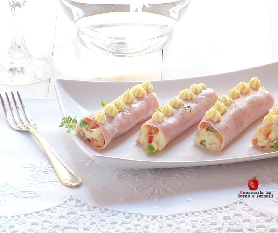 cannoncini di prosciutto con insalata russa