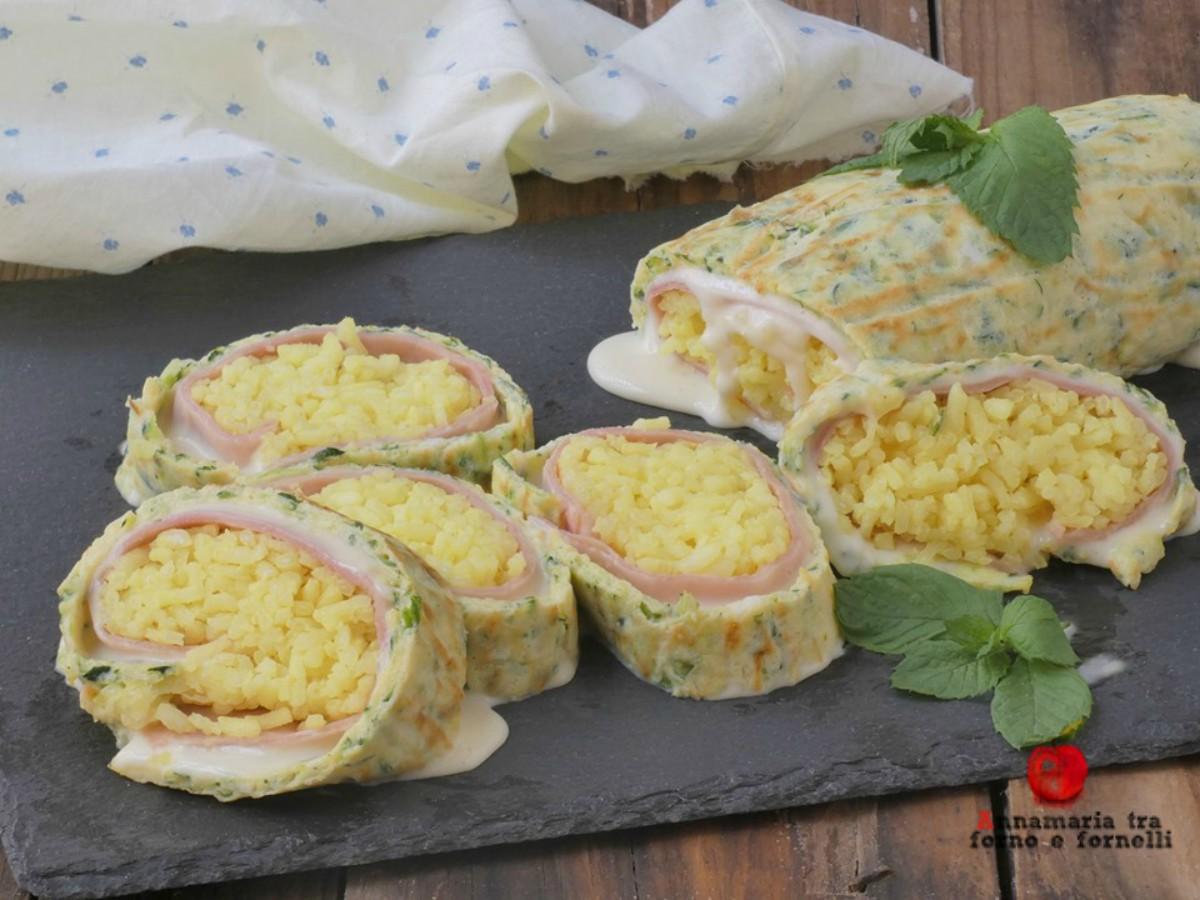 rotolo di riso con zucchine prosciutto e formaggio