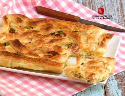 Pasta sfoglia con zucchine prosciutto e scamorza