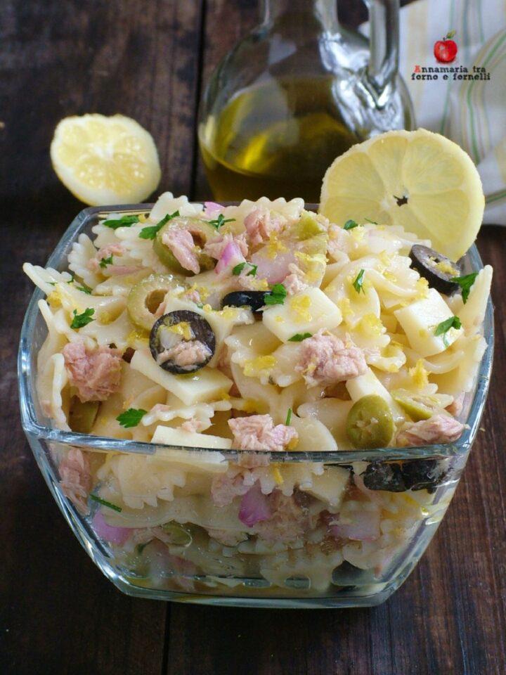 vpasta fredda al limone con tonno e olive